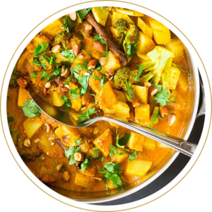 Poulet au curry et garniture grand-mère